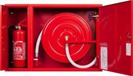 Hydrant wewnętrzny DN25 zawieszany z miejscem na gaśnicę pod zwijadłem uniwersalny