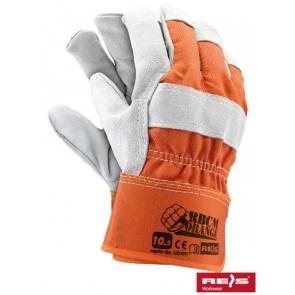 Rękawice ochronne wzmacniane wysokiej jakości skórą bydlęcą.