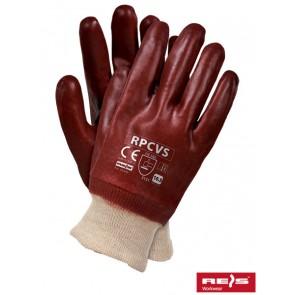 Rękawice PCV na wkładzie materiałowym.